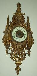 ANTIQUE French GOTHIC BRONZE CARTEL Cathedral LARGE 26 wall clock HEAVY!