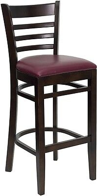 Walnut Wood Finished Ladder Back Restaurant Bar Stool With Burgundy Vinyl Seat