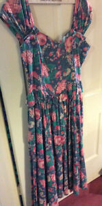 Vintage Laura Ashley Mid-calf Length, Off-the-Shoulder Sundress