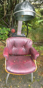 Vintage Mid Century Hair Dryer Stylist Barber Burgundy Chair