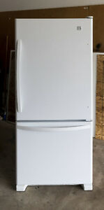 19 Cu. Ft. White Fridge with Bottom Freezer