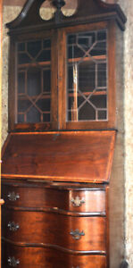 ANTIQUE MAHOGANY/WALNUT SECRETARY BOOK CASE