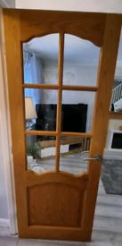 Oak veneer glazed doors x3 internal