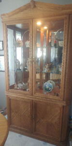 OAK CHINA CABINET....GOOD CONDITION.