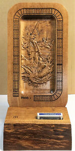Fly Fisherman Scene Carved Cribbage Board in Solid Wood