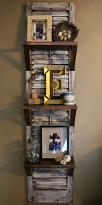 Antique shutter shelf display