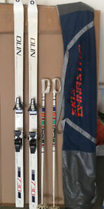 OLIN SKIS SOLOMON BINDINGS,  DYNASTAR BAG, TYROL SKI BOOT HOLDER
