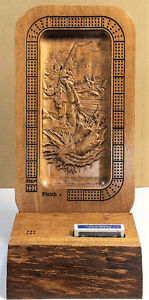 Wood Carved Fly Fisherman Custom Cribbage Board w/stand Strathcona County Edmonton Area image 1