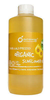 Sunflower ORGANIC 100% Pure Natural Cold Pressed Oil NUTRENERGY 1 Litre