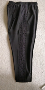 Womens club monaco black silk pants with lace panels on sides