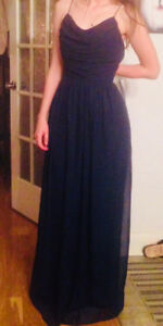 Size 7 Full length Navy Evening Gown