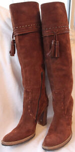 Browns Couture 70s Fashion Brown Suede Hippie Boots US10 EU41