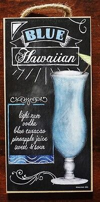 Blue Hawaiian Recipe Tiki Beach Bar Sign Tropical Drink Coastal Kitchen Decor](Hawaiian Home Decor)