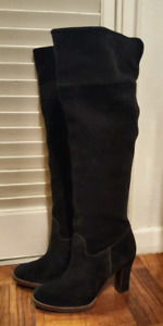 GEOX knee high black suede boots SIZE 40 US