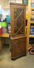 Antique mahogany corner display unit