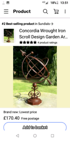 Brand new wrought iron armillary sphere sundial