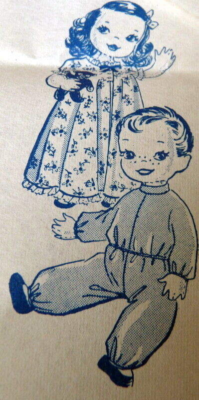 """GREAT VTG 1940s 22"""" TWIN DOLL & CLOTHING ALICE BROOKS SEWING PATTERN UNCUT"""
