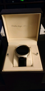 Huawei Watch - Stainless Steel Black Leather Band