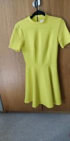 Yellow/Green High Neck Skater Dress Miss Selfridge Size 8