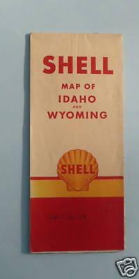 1955 Idaho Wyoming road map Shell oil Yellowstone Park