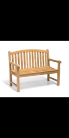 2 seater teak bench wood finish