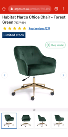 Habitat Marco Office Chair - Forest Green