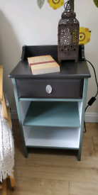 Upcycled Bedside Cabinet £30 ONO (Dark Brown + Green + White)