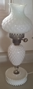 Vintage Fenton Hobnail Milk Glass Lamp  with Quilted Milk Glass