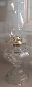 Vintage Clear Glass Footed Oil Lamp
