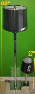 2 lampe Chromé, abat-jour neuf