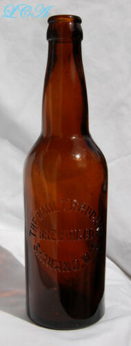 Antique amber RADDANT Brewing Co SHAWANO WISCONSIN amber HAND BLOWN beer bottle
