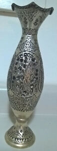 Antique Ornate Silver Metal Engraved Salvage Pieced Vase