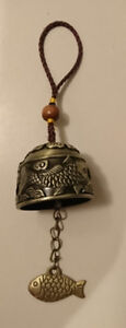 Brass Feng Shui Bell 2pc Koi Fish Chinese Oriental Lucky Charm