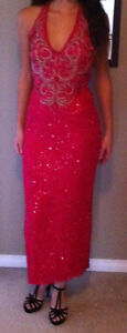 Pink silk beaded gown. Prom or pageant dress