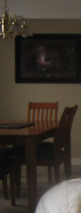 Solid wood dining table with 4 solid wood chairs.