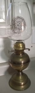 Antique Brass Duplex Oil Lamp with Double Wick