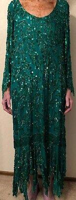 SEQUIN SILK GREEN MAXI DRESS - LINED - FORMAL FLAPPER BOLLYWOOD HALLOWEEN - SZ - Green Halloween Dress