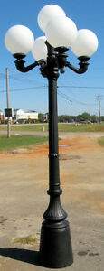 8' tall Cast 5 light lamp post