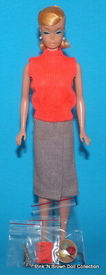 Vintage 1964 PONYTAIL SWIRL Barbie Doll Blonde w/Sweater Girl Fashion Clothes