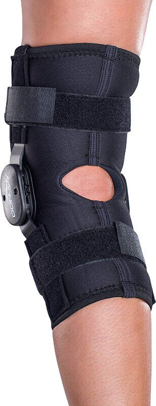 5bb789eff8 DonJoy Deluxe Hinged Knee Brace, Drytex Wrap Around, Size S | Health ...