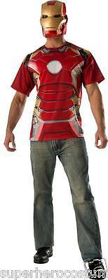 Erwachsene Avengers Kostüm (Avengers Age Of Ultron Iron Man Top & Maske Erwachsene Kostüm Brandneu - 810297)