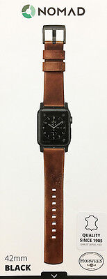 Nomad - Leather Watch Strap for Apple Watch 42mm - Brown with Black Lugs - VG