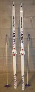 160cm Cross Country Skis with 3 pin bindings and poles. GERMINA
