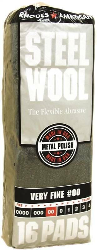Homax 106602 Steel Wool Pad, #00 Grit, Very Fine, Gray, 16 Pads per Pack