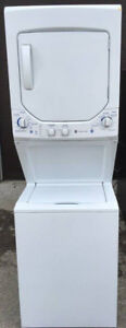 GE Gas Stacked Washer Dryer, 12 month warranty