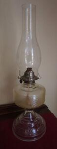 4u2c ANTIQUE PRESSED GLASS OIL LAMP
