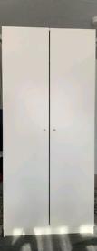 Wardrobe Two-door White, Shelf+Hanger Rail