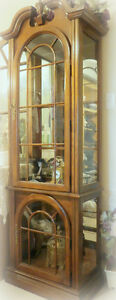 Ornate wood & glass, mirrored display cabinet with lights