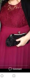 Maxi dress dark red colour. Size 24-26