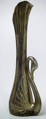 Vase Schwan Messing versilbert Einstielvase Einzelblume Design Deko Sammler